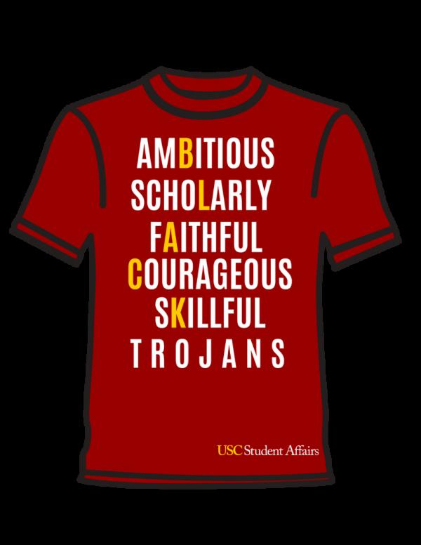 Traits of a Trojan on a Cardinal Tee Shirt